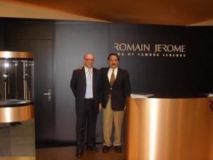 Romain Jerome U.S. Pres Paul Sheldon, and Pete Moreno at the Romain Jerome booth, Basel, Switzerland 2010